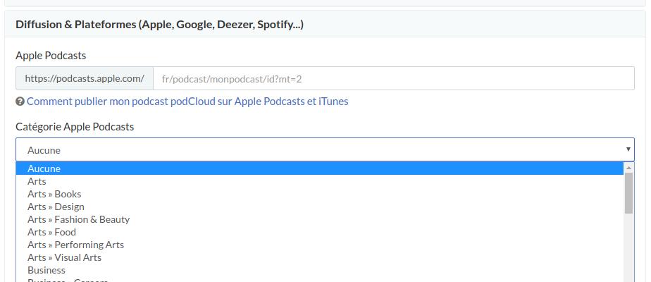 Choix catégorie iTunes