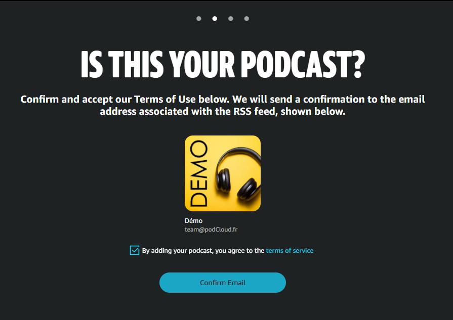 Confirmez votre podcast sur Amazon