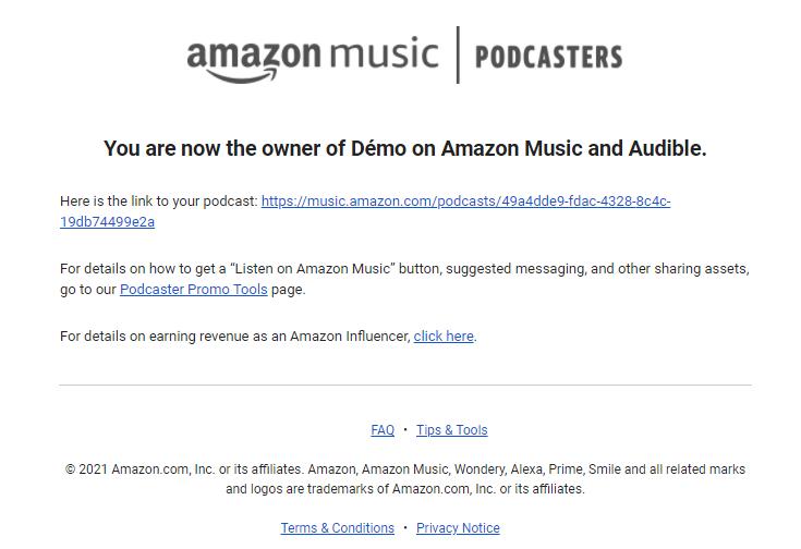 Amazon confirme l'ajout du podcast