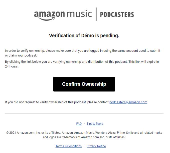Confirmation par email pour Amazon